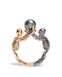 Alexander McQueen | Metallic Double-skeleton Ring | Lyst