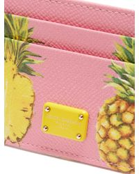 Dolce & Gabbana Pink Pineapple-print Leather Cardholder
