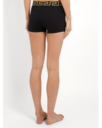 Versace - Black Logo-embroidered Performance Shorts - Lyst