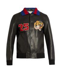 Gucci Black Tiger-appliqué Leather Bomber Jacket for men