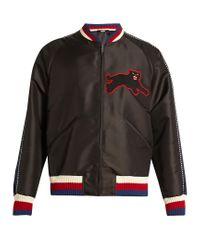 Gucci Black Panther-appliqué Silk-blend Bomber Jacket for men