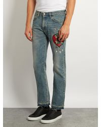 Gucci Blue Panther-appliqué Slim-fit Jeans for men
