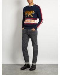 Gucci Blue Walking Tiger-appliqué Wool Sweater for men
