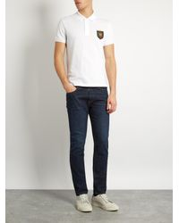 Gucci White Tiger Badge-appliqué Cotton-blend Polo Shirt for men