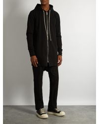 Rick Owens Black Mesh-overlay Dropped-crotch Linen Trousers for men