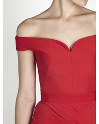 Alexander McQueen Red Off-the-shoulder Crepe Gown