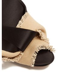 N°21 - Black Satin And Canvas Mules - Lyst