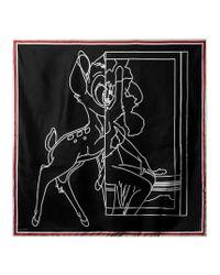 Givenchy - Black Bambi©-print Silk Scarf - Lyst