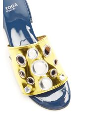 Toga - Metallic Embellished Patent-leather Sandals - Lyst