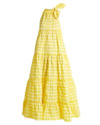Marques'Almeida Yellow Gingham Twill Halterneck Maxi Dress