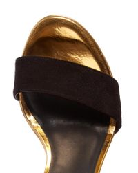 Balmain   Black Bi-colour Leather And Suede Wedge Sandals   Lyst