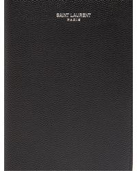 Saint Laurent Black Grained-leather Passport Holder for men