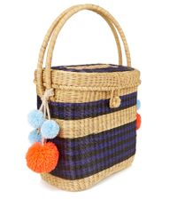 Sophie Anderson Blue Cinto Striped Wicker Basket Bag