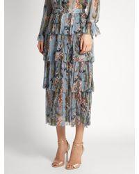 Zimmermann Blue Winsome Floral-print Silk-georgette Skirt