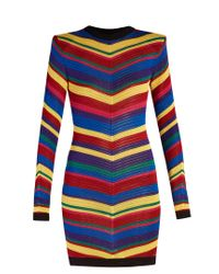 Balmain | Blue Chevron-striped Knitted Mini Dress | Lyst