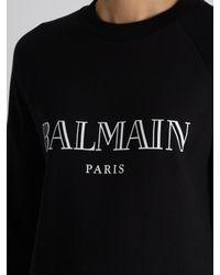 Balmain - Black Logo-print Cotton-jersey Sweatshirt - Lyst