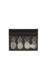 Dolce & Gabbana Black Pineapple-print Leather Cardholder
