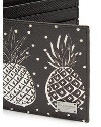 Dolce & Gabbana Black Bi-fold Pineapple-print Grained-leather Wallet for men