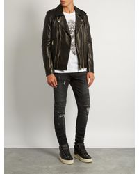 Balmain Black Leather Biker Jacket for men