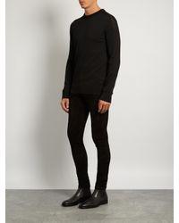 Balmain Black Skinny-leg Suede Trousers for men