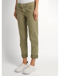 Current/Elliott - Green The Fling Straight-leg Cropped Jeans - Lyst