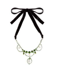 Miu Miu | Green Crystal And Faux-pearl Embellished Necklace | Lyst