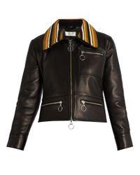 Wales Bonner | Black Crochet-collar Leather Biker Jacket | Lyst