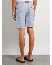 Vilebrequin Blue Bermuda Striped Drawstring-waist Linen Shorts for men