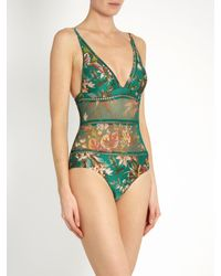 Zimmermann Blue Tropicale Triangle Sheer-inserts Swimsuit