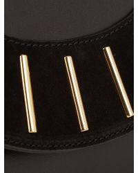 Diane von Furstenberg Black Bar-stud Leather And Suede Envelope Clutch