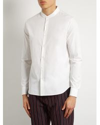 Wooyoungmi White Collarless Cotton Shirt for men