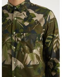 Valentino | Green Button-cuff Leaf-print Cotton Shirt for Men | Lyst