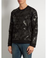 Valentino Black Camustars-print Crew-neck Sweatshirt for men