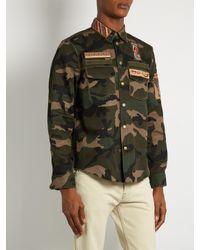 Valentino Green Cigar-box Appliqué Camouflage-print Cotton Jacket for men