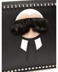 Fendi - Black Karlito Fur-trimmed Leather Pouch - Lyst