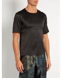 Meng Black Stretch Silk-satin T-shirt for men