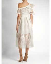 Self-Portrait White One-shoulder Guipure-lace Midi Dress
