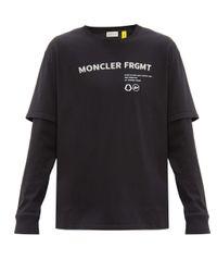 メンズ 7 MONCLER FRAGMENT レイヤード コットンtシャツ Black