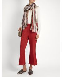 Etro - Red Paisley-print Striped Silk Scarf - Lyst