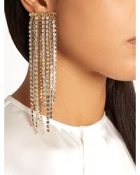 Lanvin - Metallic Crystal-embellished Clip-on Fringed Earrings - Lyst