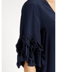 See By Chloé - Blue Ruffled-sleeve Silk Blouse - Lyst