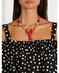 Dolce & Gabbana | Multicolor Lobster Crystal-embellished Necklace | Lyst