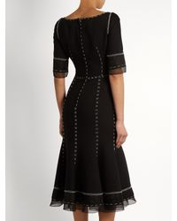 Dolce & Gabbana - Black Whipstitched Wool-blend Cady Dress - Lyst
