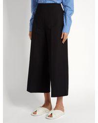 MSGM Gathered Wool-blend Wide-leg Pants Black