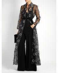Sara Battaglia - Black Floral-embroidered Organza Coat - Lyst