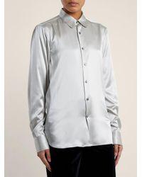 CONNOLLY Metallic Point-collar Stretch-silk Satin Shirt