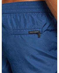 Dolce & Gabbana Blue Logo Print Swim Shorts for men
