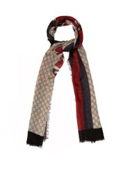 Gucci Multicolor Snake-print Wool Scarf for men