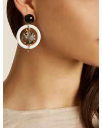 Marni - White Crystal-embellished Hoop Drop Earrings - Lyst