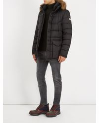 Moncler Black Cluny Fur-trimmed Down Coat for men